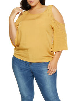 Plus Size Crochet Trim Cold Shoulder Shirt - 3803074760030