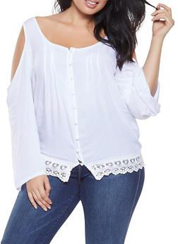 Plus Size Crochet Trim Cold Shoulder Shirt - 3803074760031