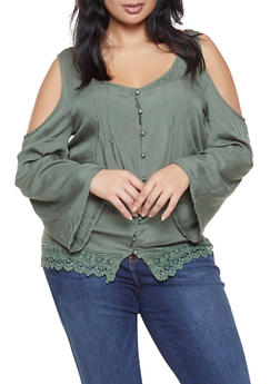 Plus Size Crochet Trim Cold Shoulder Shirt - 3803074760031
