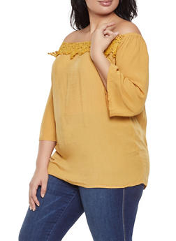 Plus Size Crochet Trim Off the Shoulder Top - 3803074760204