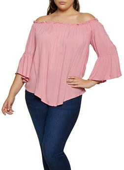 Plus Size Off the Shoulder Bell Sleeve Top - 3803075845005