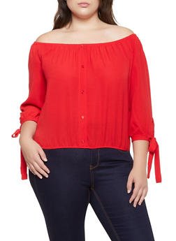 Plus Size Off the Shoulder Crepe Tie Sleeve Top - 3803075845006