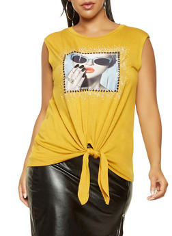 Plus Size Studded Graphic Tie Front Tank Top - 3806061358424