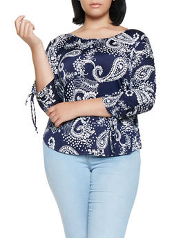 Plus Size Printed Ruched Sleeve Top - 3810065241706