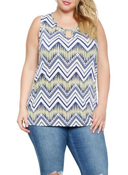 Plus Size Printed Keyhole Tank Top - 3810065241938