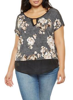 Plus Size Floral Chiffon Trim Top - 3810065241986