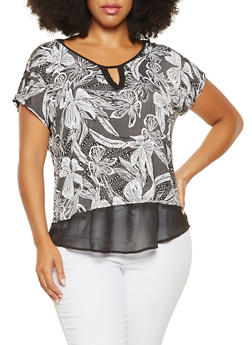 Plus Size Floral Chiffon Trim Top - 3810065241986