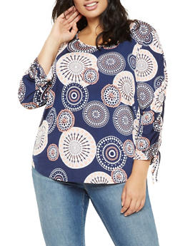 Plus Size Printed Ruched Sleeve Top - 3810065242017