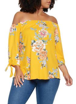 Plus Size Floral Off the Shoulder Top - 3810074014439