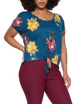 Plus Size Floral Slit Sleeve Top - 3810074015440