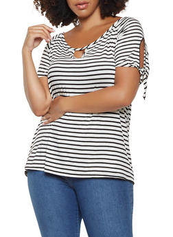 Plus Size Striped Off the Shoulder Top - 3810074015472