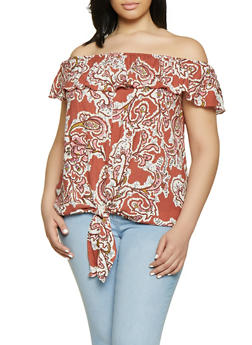 Plus Size Printed Tie Front Off the Shoulder Top - 3812051060091