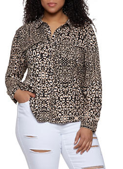 Plus Size Printed Button Front Blouse - 3812051060870