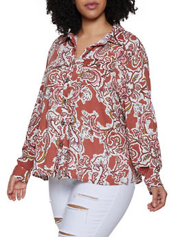 Plus Size Printed Button Front Blouse - RUST - 3812051060870