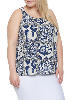 Plus Size Printed Button Back Tank Top - 3812051060936
