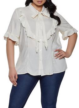 Plus Size Ruffled Tie Neck Shirt - 3812051060939