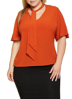 Plus Size Crepe Knit Tie Neck Keyhole Top - 3812051061859