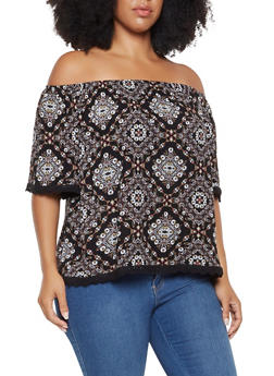 Plus Size Printed Off the Shoulder Peasant Top - 3812054262513