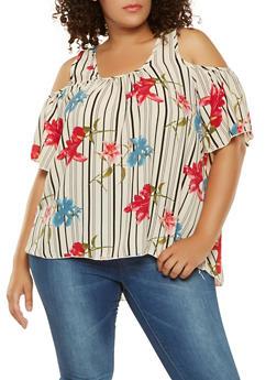 Plus Size Floral Striped Cold Shoulder Top - 3812054264665