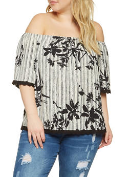 Plus Size Printed Off the Shoulder Top - 3812054265125