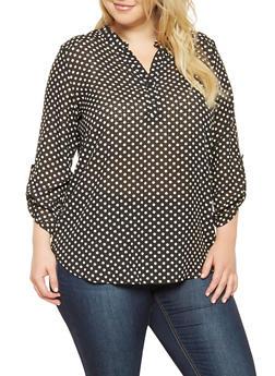 Plus Size Polka Dot Blouse - 3812061353328