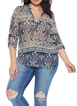 Plus Size Printed Tab Sleeve Blouse - 3812061357112