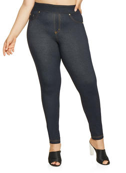 Plus Size Denim Knit Push Up Leggings - 3819056571020