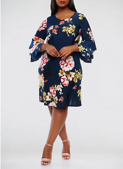 Plus Size Tiered Sleeve Floral Dress - 3822056124689