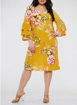 Plus Size Floral Tiered Sleeve Dress - 3822056125689