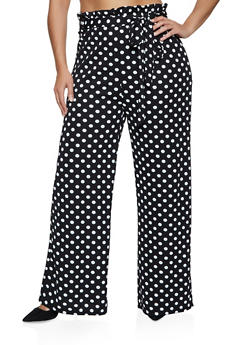Plus Size Crepe Paper Bag Waist Palazzo Pants - BLACK/WHITE - 3850038344756