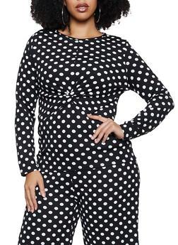 Plus Size Crepe Knit Twist Front Top - 3850038344757