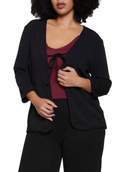 Plus Size Crepe Knit Tie Front Cardigan - 3850038344758