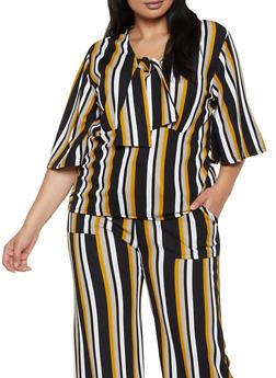 Plus Size Striped Tie Neck Top - 3850038344759