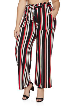 Plus Size Striped Paper Bag Waist Palazzo Pants - 3850038344760
