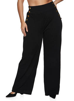 Plus Size Wide Leg Sailor Pants - BLACK - 3850038344785