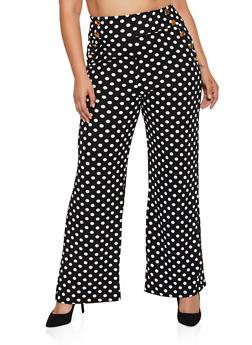 Plus Size Wide Leg Sailor Pants - BLACK/WHITE - 3850038344785