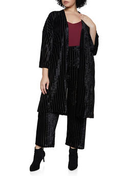 Plus Size Crushed Velvet Striped Duster - 3850062121162
