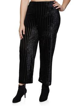 Plus Size Crushed Velvet Striped Palazzo Pants - 3850062121163