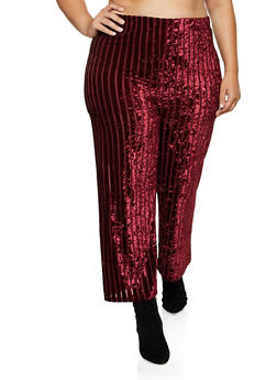 Plus Size Crushed Velvet Striped Palazzo Pants - 3850062121163