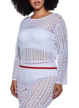 Plus Size Geometric Striped Tape Top - 3850062121330