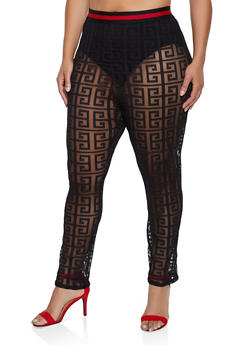 Plus Size Striped Tape Printed Mesh Pants - 3850062121331