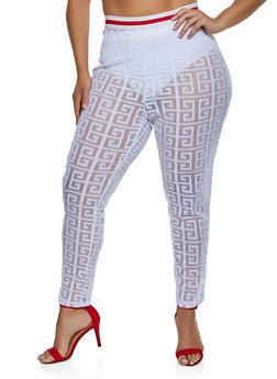 Plus Size Striped Tape Printed Mesh Pants - 3850062121331