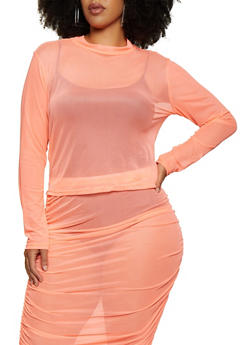 Plus Size Long Sleeve Mesh Top - 3850062121506