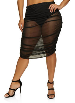 Plus Size Ruched Mesh Skirt - 3850062121507