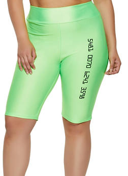Plus Size Number Graphic Spandex Bike Shorts - 3850062122127