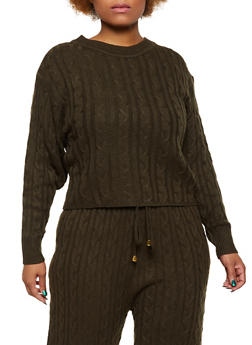 Plus Size Cable Knit Crew Neck Sweater - 3850062122225