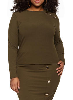 Plus Size Ribbed Knit Button Top - 3850062123300