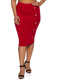 Plus Size Button Ribbed Knit Pencil Skirt - 3850062123301