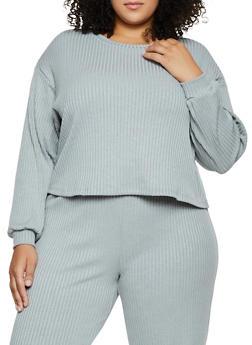Plus Size Oversized Long Sleeve Rib Knit Top - 3850062123500