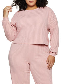 Plus Size Oversized Long Sleeve Rib Knit Top - 3850062123500